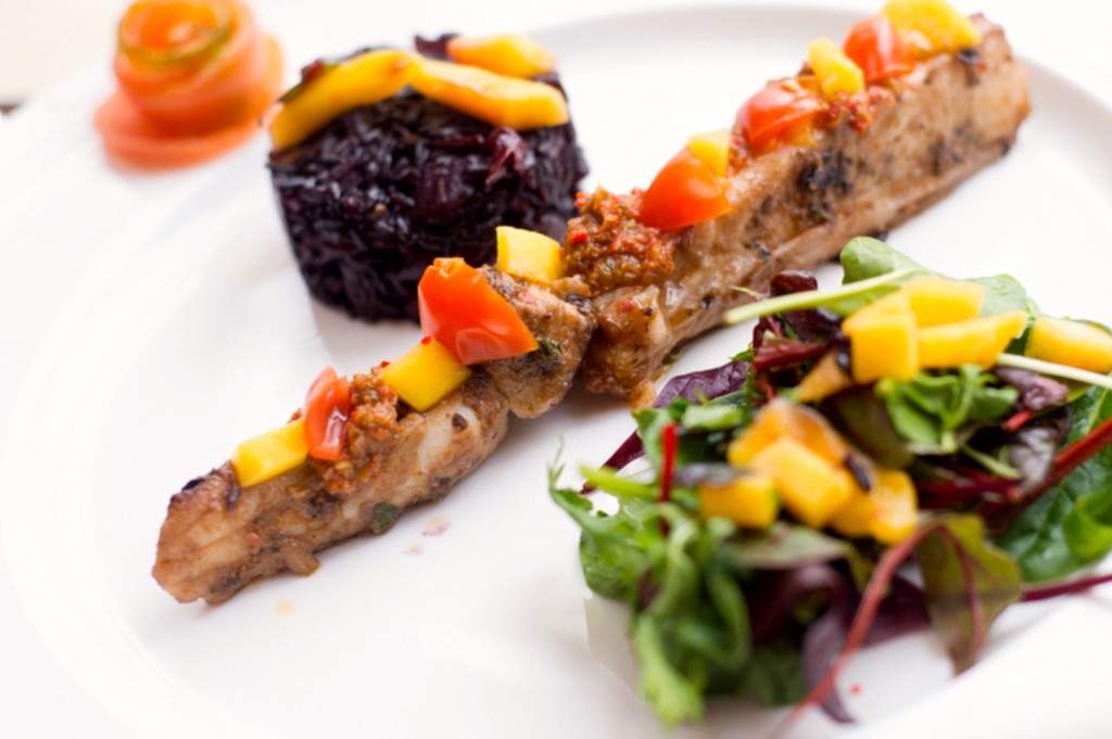 Bois Boudran Turbot with Black Sticky Rice and Mango Salad L'oud Des Eurasie