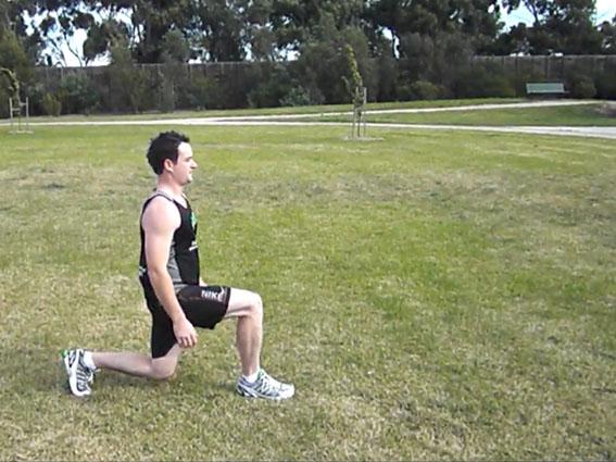 man doing walking lunge