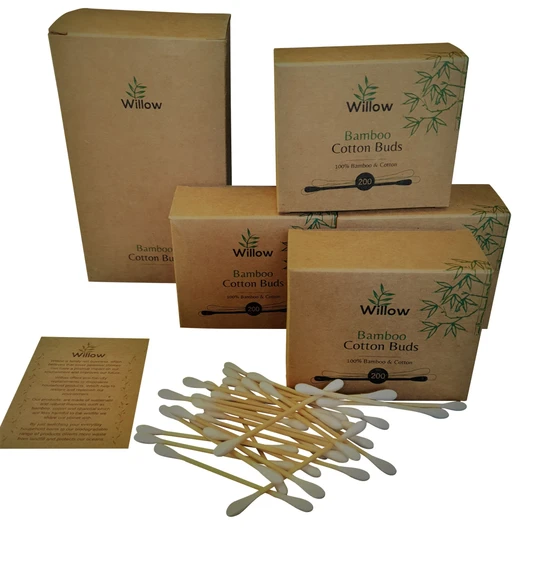 ear buds made from bamboo and cotton swabs